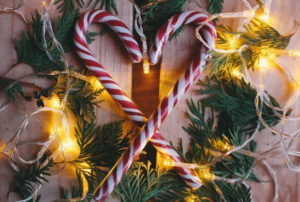 image of candy canes in heart shape coping with infertility at christmas