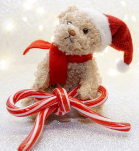 image of teddy in santa hat dealing with friends and family
